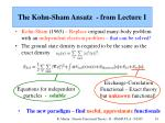 the kohn sham ansatz from lecture i