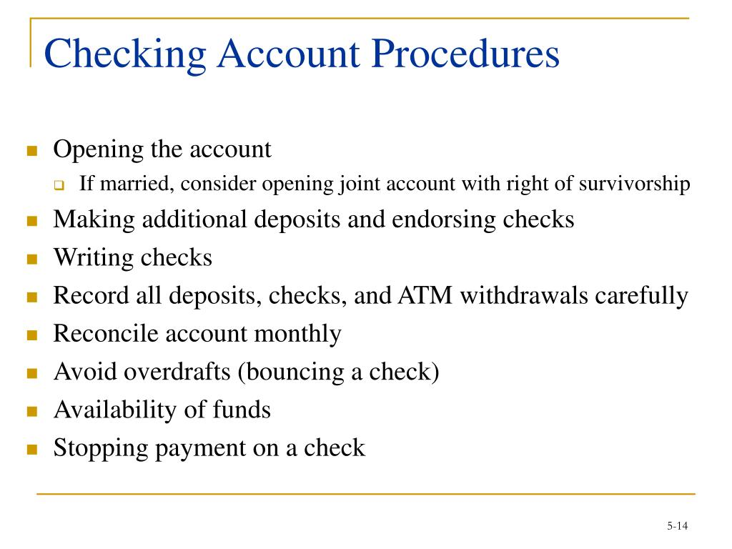 Checking Account Procedures
