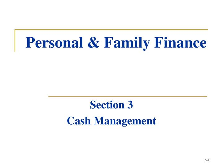 Personal family finance