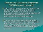 relevance of research program to cber mission continued