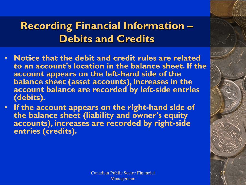 Recording Financial Information – Debits and Credits