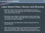 labor market risks women and minorities