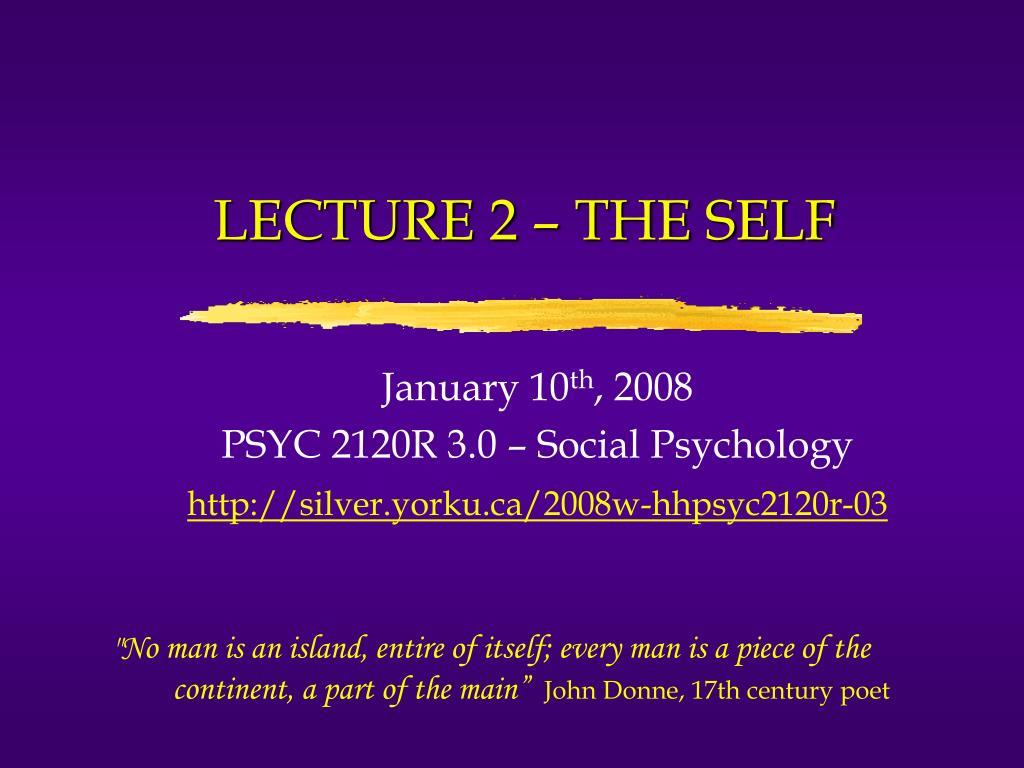 lecture 2 the self l.
