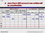 4 jane doe s 50 account was written off as uncollectible