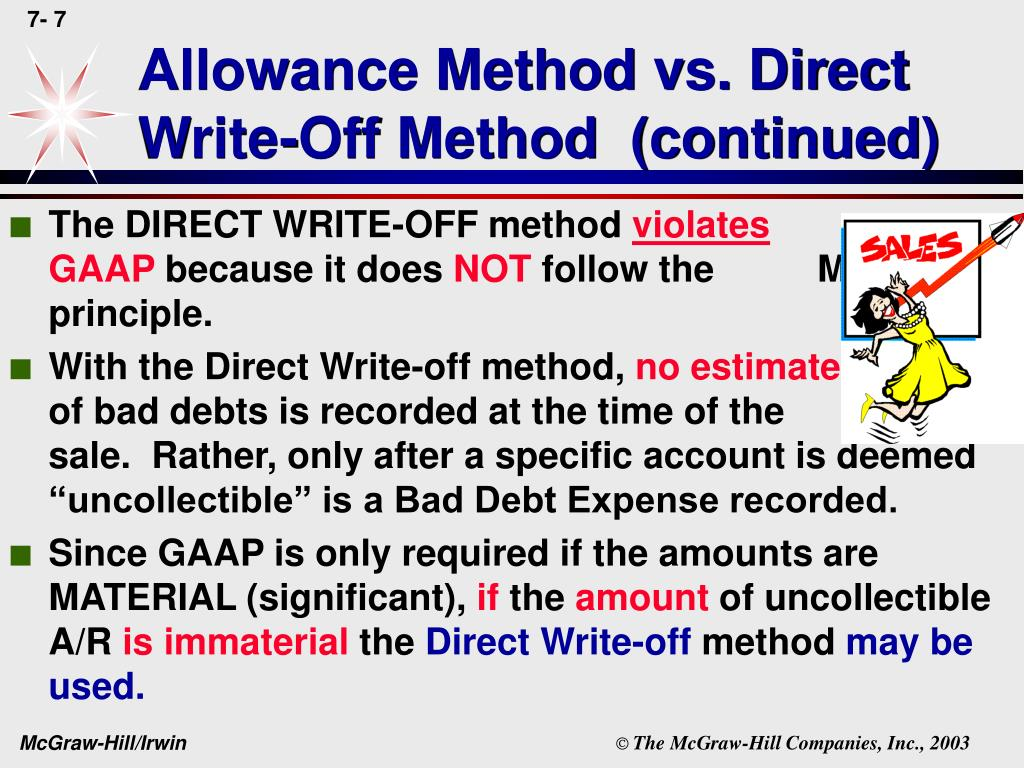 Allowance Method vs. Direct Write-Off Method  (continued)