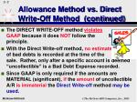 allowance method vs direct write off method continued