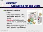 summary accounting for bad debts