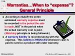 warranties when to expense general principle