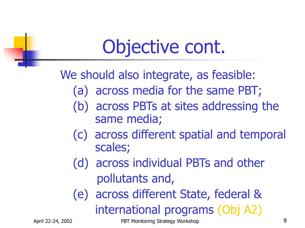 Objective cont.