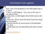 comments from agents