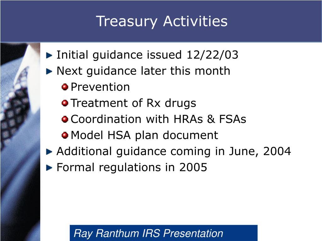 Treasury Activities