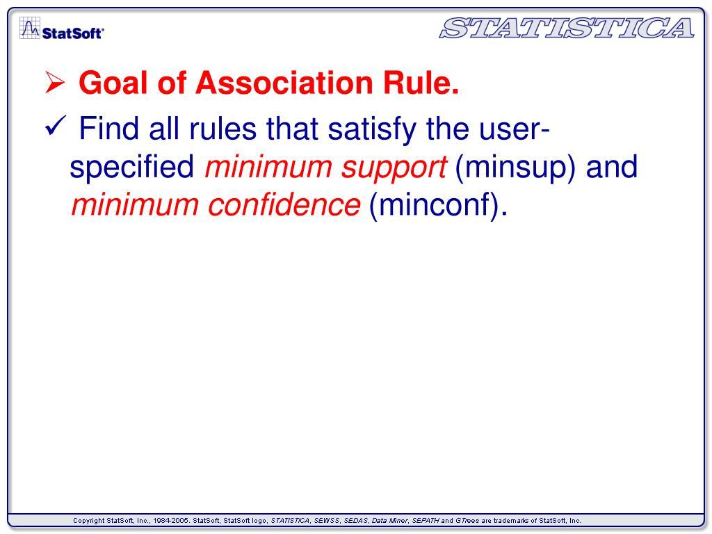 Goal of Association Rule.