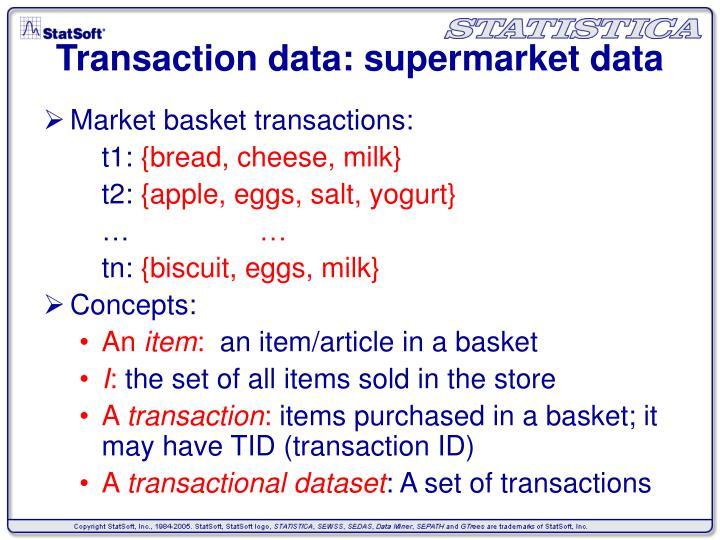 Transaction data supermarket data