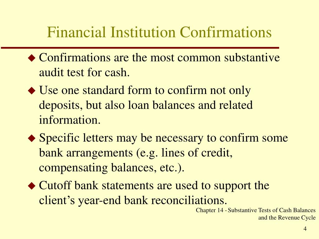 Financial Institution Confirmations