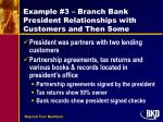 example 3 branch bank president relationships with customers and then some1