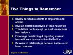 five things to remember