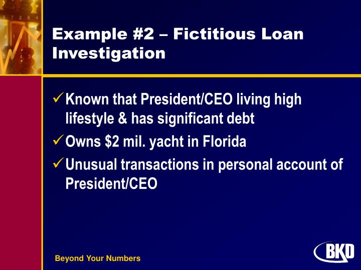 Example #2 – Fictitious Loan Investigation
