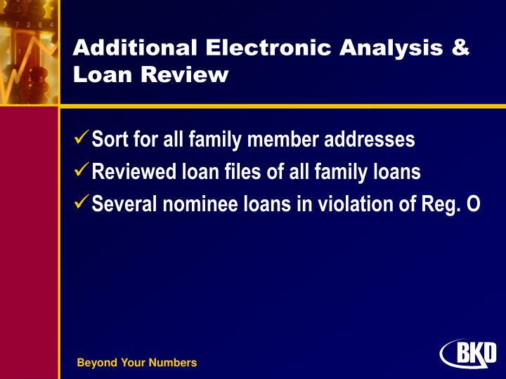 Additional Electronic Analysis & Loan Review