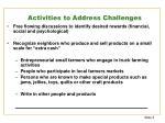 activities to address challenges