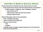 activities to build on success stories