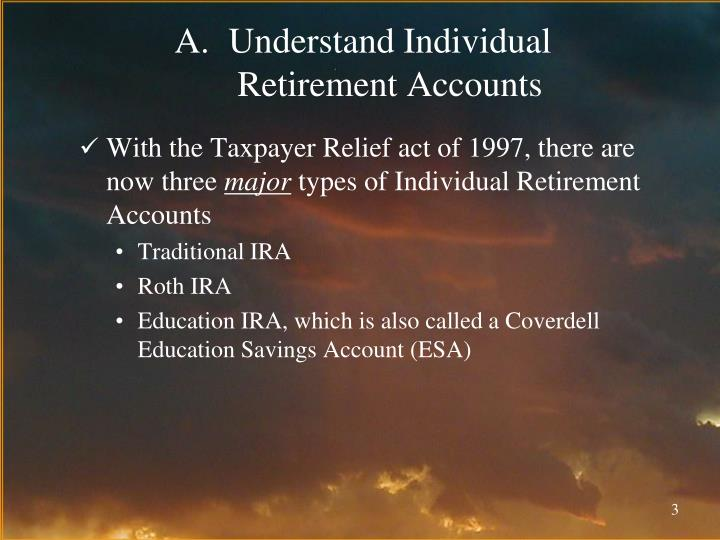 Understand individual retirement accounts