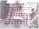 cello continued