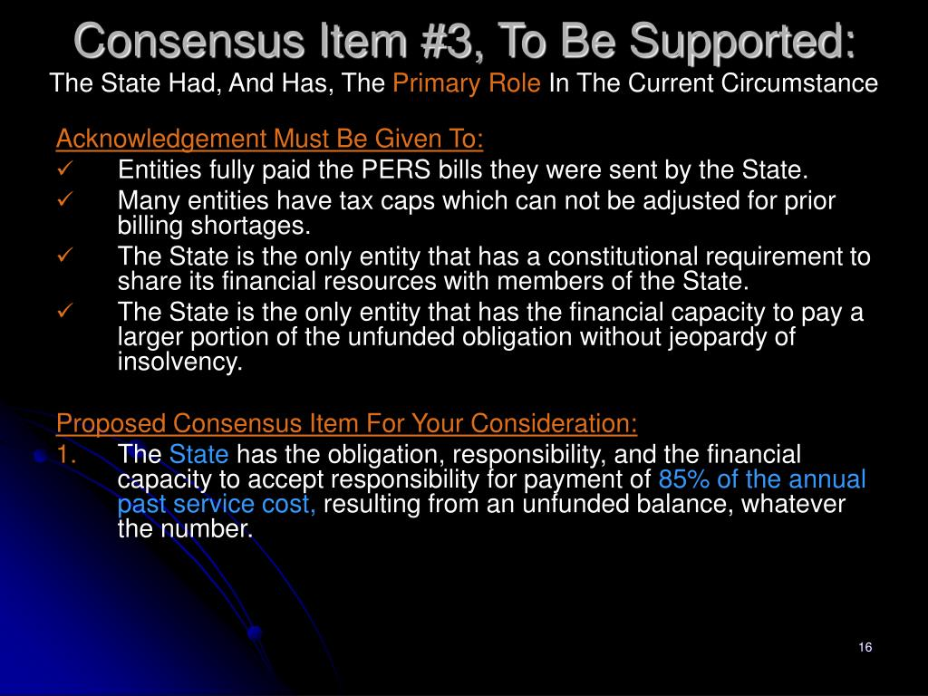 Consensus Item #3, To Be Supported: