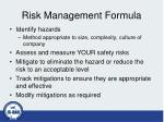 risk management formula