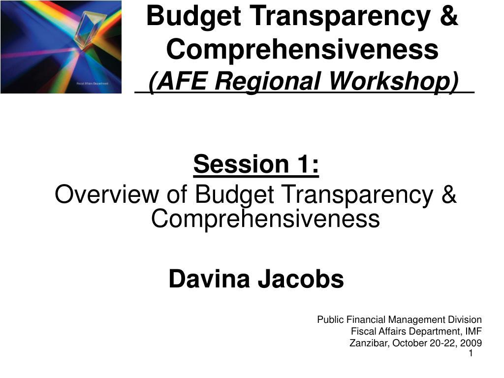 budget transparency comprehensiveness afe regional workshop l.