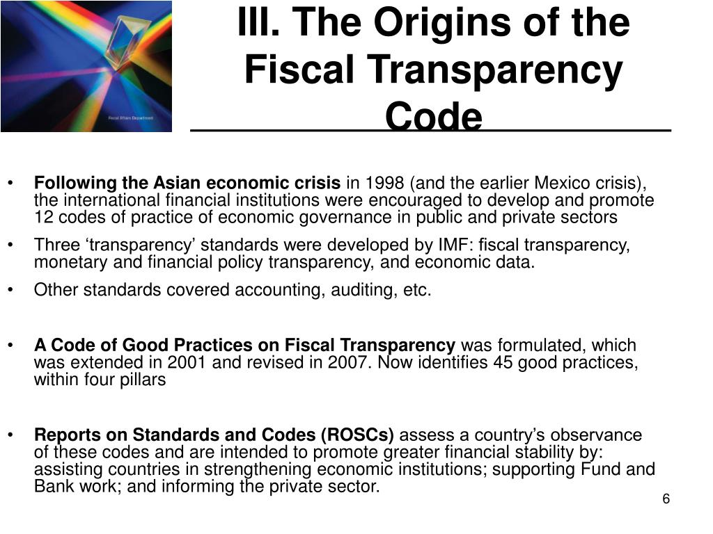 III. The Origins of the Fiscal Transparency Code