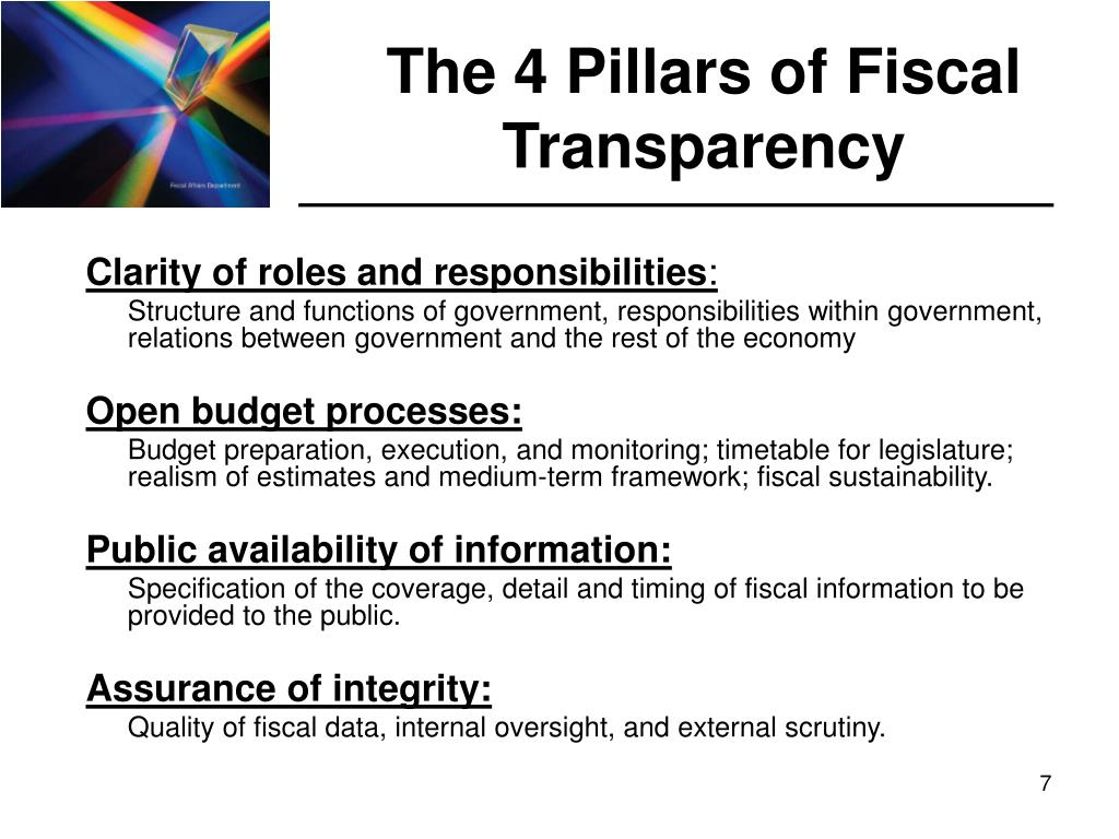 The 4 Pillars of Fiscal Transparency