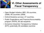 vi other assessments of fiscal transparency