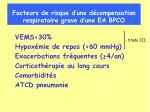 facteurs de risque d une d compensation respiratoire grave d une ea bpco