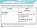 pneumonie du patient sans comorbidit doute entre pneumocoque et atypique