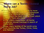 where can a textile chemist find a job