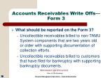 accounts receivables write offs form 316