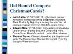 did handel compose christmascarols