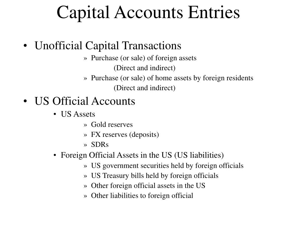 Capital Accounts Entries