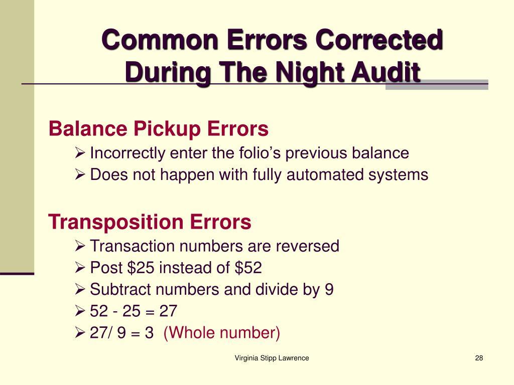 Common Errors Corrected