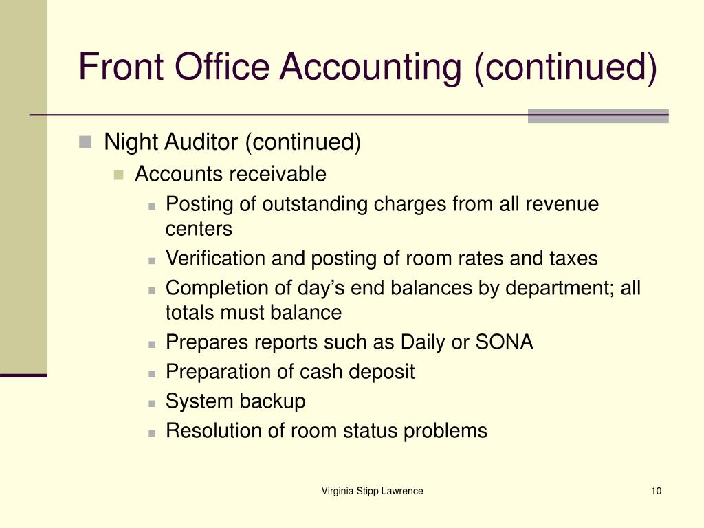 Front Office Accounting (continued)