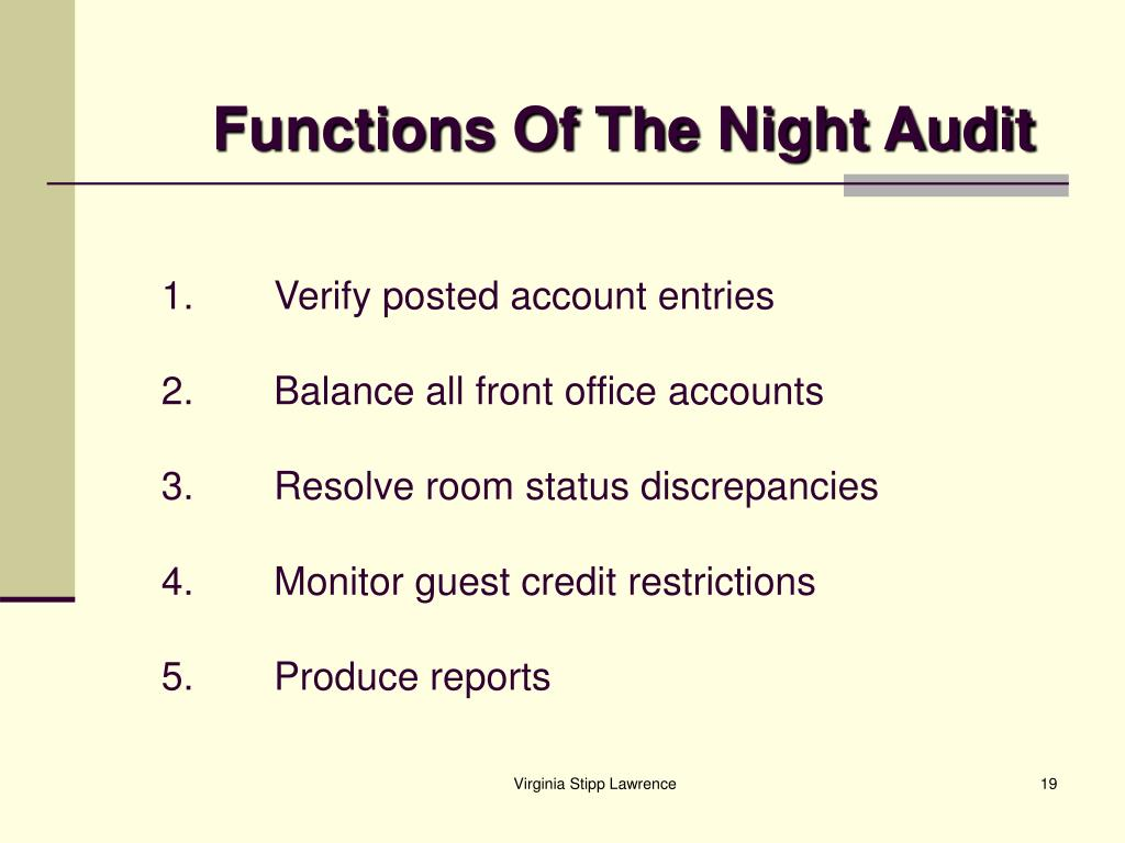 Functions Of The Night Audit