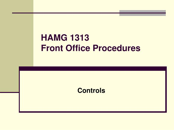 Hamg 1313 front office procedures