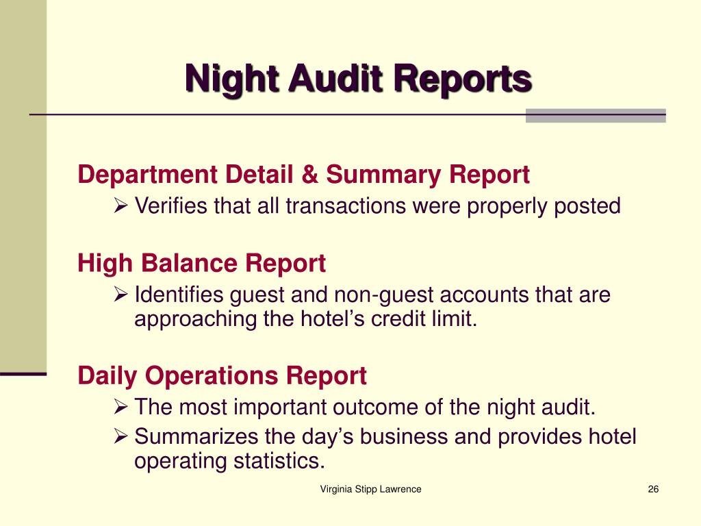 Night Audit Reports