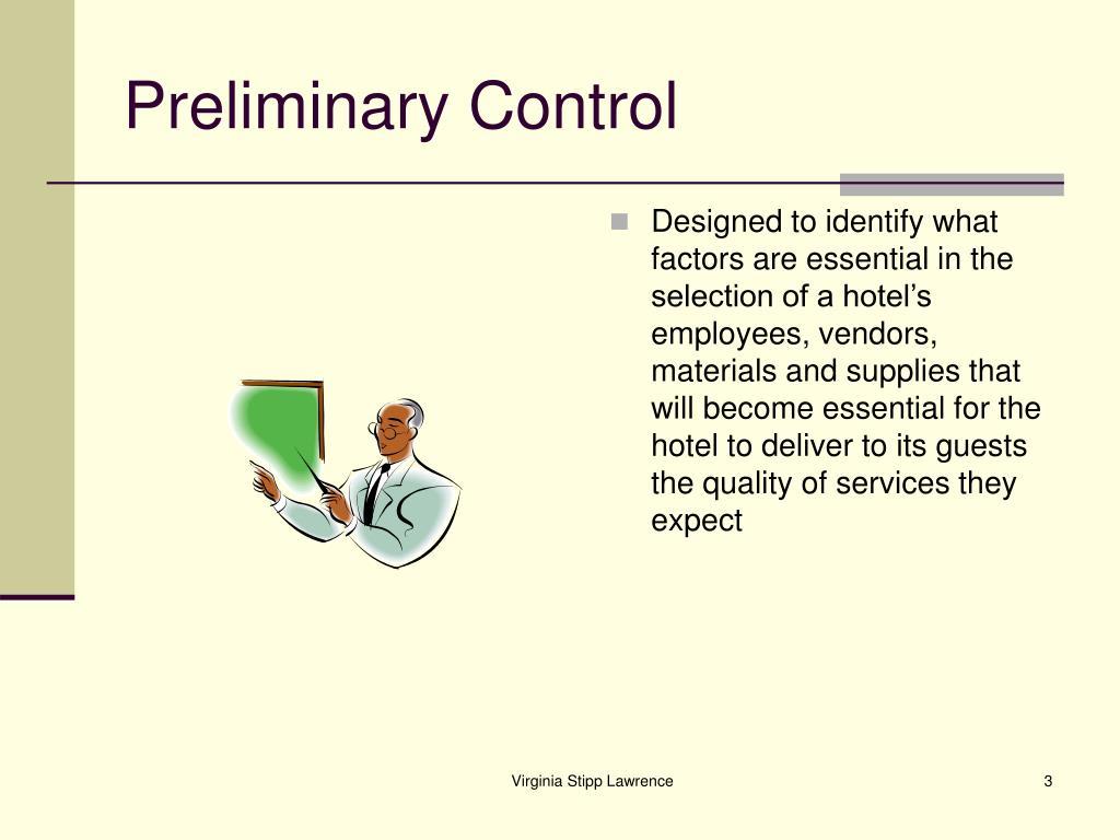 Preliminary Control