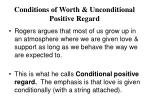 conditions of worth unconditional positive regard