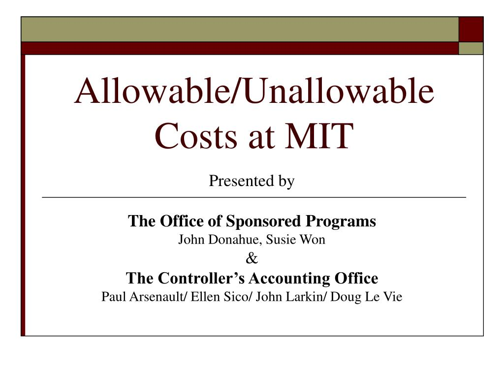 allowable unallowable costs at mit l.