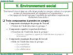 v environnement social