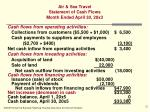 air sea travel statement of cash flows month ended april 30 20x3
