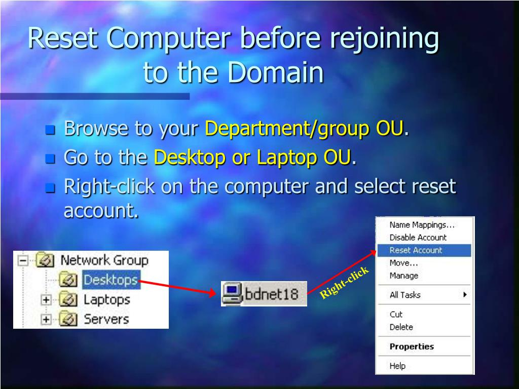 Reset Computer before rejoining to the Domain