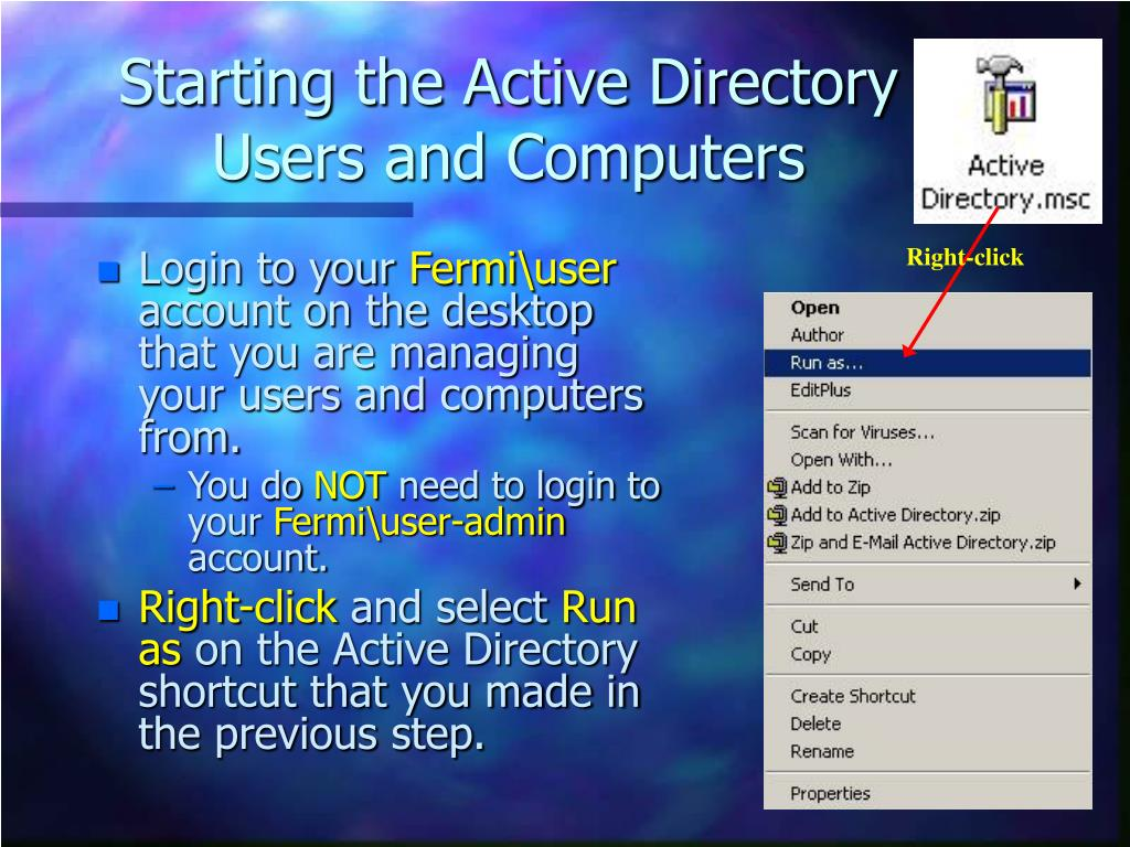 Starting the Active Directory Users and Computers